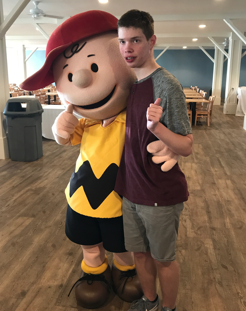 Cobe with Charlie Brown at Cedar Point